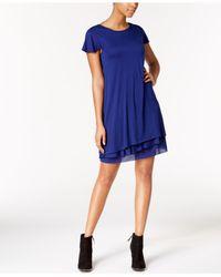 Kensie - Blue Heathered Tiered-hem Dress - Lyst