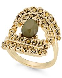 INC International Concepts - Gold-tone Yellow Pavé & Green Stone Ring - Lyst