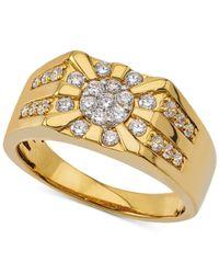 Macy's - Metallic Men's Diamond Cluster Ring (3/4 Ct. T.w.) In 10k Gold for Men - Lyst