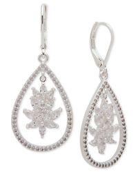 Anne Klein - Metallic Silver-tone Cubic Zirconia Drop Earrings - Lyst