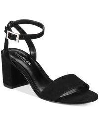 Charles David - Black Keenan Block-heel Sandals - Lyst