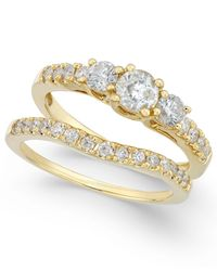 Macy's - Metallic Diamond Bridal Three Stone Ring Set (1 Ct. T.w.) In 14k White Gold - Lyst