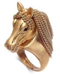 Kate Spade - Metallic Gold-tone Pavé & Chain Horse Ring - Lyst