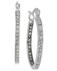 Macy's - Metallic Marcasite (1 Ct. T.w.) & Crystal Inside Out Hoop Earrings In Fine Silver-plate - Lyst