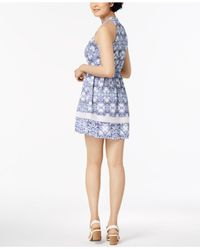 Maison Jules - Blue Ikat-print Halter Dress, Created For Macy's - Lyst
