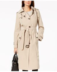 London Fog - Natural Hooded Belted Trench Coat - Lyst