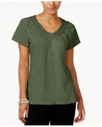 Karen Scott Green Petite Crochet-neck Cotton Top, Created For Macy's