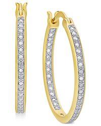 Macy's - Metallic Diamond In And Out Hoop Earrings (1/2 Ct. T.w.) - Lyst