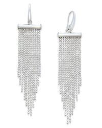 Macy's - Metallic Multi-strand Beaded Chandelier Earrings In Sterling Silver - Lyst