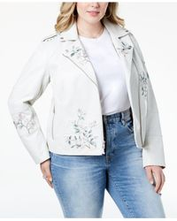 Levi's - White ® Plus Size Embroidered Faux-leather Moto Jacket - Lyst