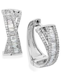 Effy Collection - Metallic Diamond Crossover Hoop Earrings In 14k White Gold (1 Ct. T.w.) - Lyst