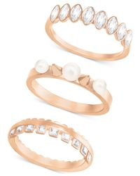 Swarovski - Metallic Rose Gold-tone 3-pc. Set Imitation Pearl And Crystal Rings - Lyst