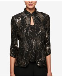 Alex Evenings | Black Petite Sequined Jacket & Shell | Lyst