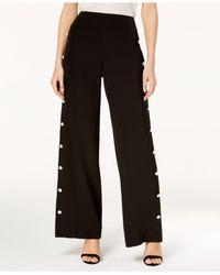 Love Scarlett - Black Petite Embellished Wide-leg Pants - Lyst
