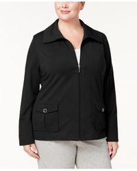 Karen Scott Black Plus Size Wing-collar Jacket, Created For Macy's