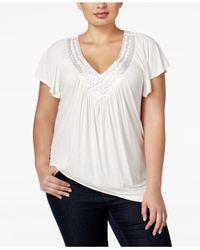Soprano | White Plus Size Top, Short Sleeve Embellished V-neck | Lyst