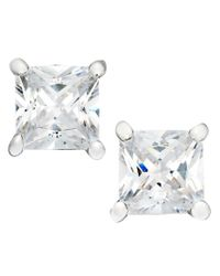 Giani Bernini - Metallic Sterling Silver Earrings, Square Cubic Zirconia Studs (1 Ct. T.w.) - Lyst