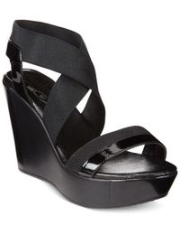 Charles David | Black Feature Wedge Sandals | Lyst