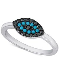 Macy's - Metallic Manufactured Turquoise And Black Crystal Evil-eye Ring In Sterling Silver - Lyst