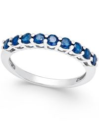 Macy's | Blue Sapphire Band (5/8 Ct. T.w.) In Sterling Silver | Lyst