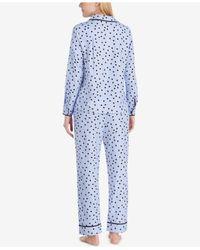 Kate Spade - Purple Satin-piping Printed Pajama Set - Lyst