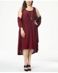 R & M Richards - Metallic Plus Size Pleated Dress And Draped Jacket - Lyst