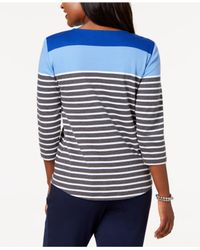 Karen Scott - Blue Colorblocked Button-shoulder Top, Created For Macy's - Lyst
