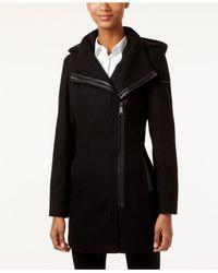CALVIN KLEIN 205W39NYC - Black Asymmetrical Faux-leather-trim Walker Coat - Lyst