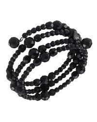 Carolee   Black Bracelet, Jet Bead Three Row Stretch   Lyst