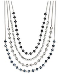 INC International Concepts - Blue Silver-tone Multi-row Jet Stone And Crystal Statement Necklace - Lyst