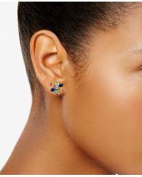Macy's - Multicolor Multi-sapphire Floral Stud Earrings (6 Ct. T.w.) In Sterling Silver - Lyst