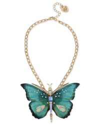 Betsey Johnson - Metallic Gold-tone Multi-stone Butterfly Pendant Necklace - Lyst