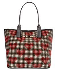 Betsey Johnson - Red Heart Studded Medium Tote - Lyst