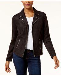 Style & Co. - Black Faux-suede Moto Jacket - Lyst