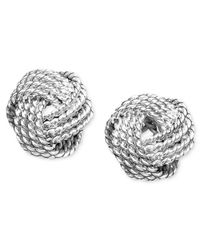 Giani Bernini | Metallic Twist Knot Stud Earrings In Sterling Silver, Only At Macy's | Lyst