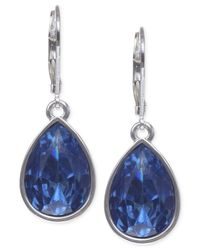 Nine West - Metallic Silver-tone Faceted Teardrop Earrings - Lyst
