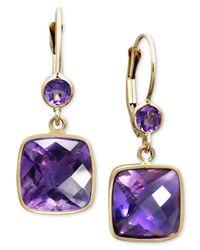 Macy's | Metallic 14k Gold Earrings, Amethyst Cushion Cut Drop (8-1/2 Ct. T.w.) | Lyst