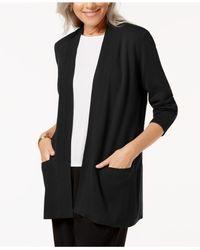 Karen Scott Black Open-front Cardigan, Created For Macy's