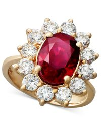 Effy Collection - Red Ruby (3-3/4 Ct. T.w.) And Diamond (1-3/4 Ct. T.w.) Oval Ring In 14k Rose Gold - Lyst