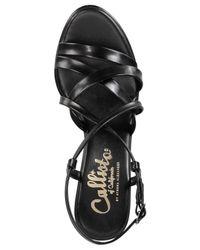 Callisto - Black Georgette Platform Dress Sandals - Lyst