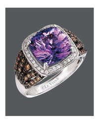 Le Vian - Brown Amethyst (3-1/2 Ct. Chocolate Diamond (1/3 Ct. T.w.) And White Diamond (1/6 Ct. T.w.) Square In 14k White Gold - Lyst
