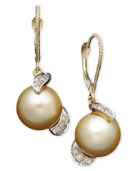 Macy's - Metallic 14k Gold Earrings, Cultured Golden South Sea Pearl (9mm) And Diamond (1/5 Ct. T.w.) Drop Earrings - Lyst