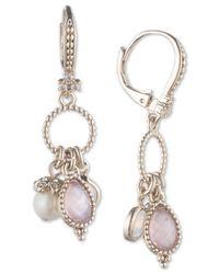 Marchesa - Metallic Gold-tone Imitation Pearl, Stone & Pavé Shaky Drop Earrings - Lyst