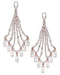 Kate Spade - Metallic 14k Rose Gold-plated Crystal Chandelier Earrings - Lyst