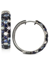 Effy Collection | Metallic Saph Splash By Effy Multicolor Sapphire Large Hoop Earrings (4 Ct. T.w.) In Sterling Silver | Lyst
