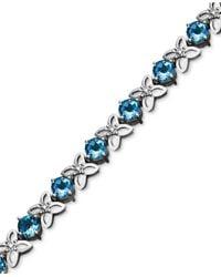 Macy's | Sterling Silver Bracelet, Blue Topaz (9-1/2 Ct. T.w.) And Diamond Accent Flower | Lyst