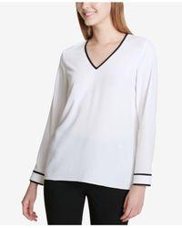 Calvin Klein - White V-neck Colorblock-trim Top - Lyst