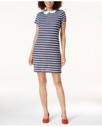 Maison Jules - Blue Printed Round-collar Dress - Lyst