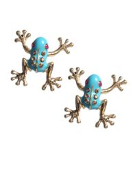 Betsey Johnson   Blue Frog Stud Earrings   Lyst