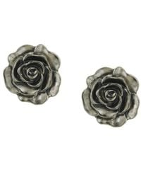 2028 | Metallic Earrings, Silver-tone Jet Enamel Flower Stud | Lyst